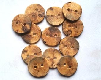 Handmade Wooden Buttons, Wood Buttons, Natural Wood Buttons, Oak Tree Branch Buttons, Set of 12, 1 1/8 Inch