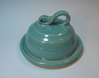 Butter Dish Cheese Server Covered Set - Frosty Aqua Green Handmade Pottery
