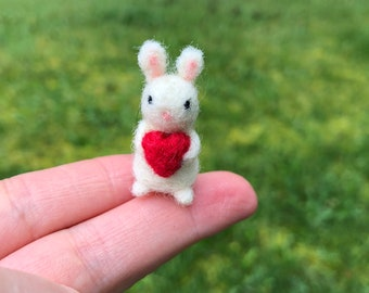 Miniature Bunny With Heart Needle Felted Tiny Miniature