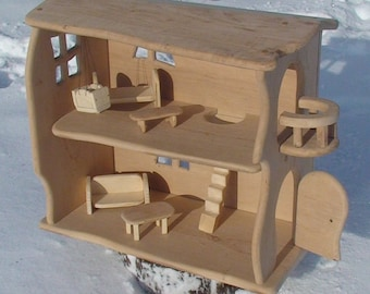 Holz Puppenhaus, Handgefertigt Aus Holz Puppenhaus, Natürliche Holz  Puppenhaus Waldorf, Holz Fee