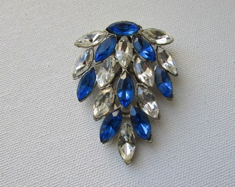 Vintage Dress Clip Blue and Clear Rhinestones