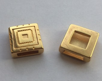 10mm Flat Greek Pattern Gold Slider, price per each