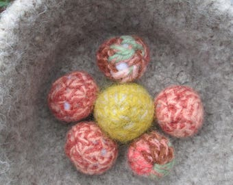 Set of 6 Felted Wool Cat Toy Balls Crocheted by SuzannesStitches, Wool Cat Toys, Cat Toy Balls, Small Animal Wool Toys, Small Dog Wool Toys