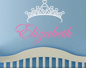 Personalized Girls Room Decor Vinyl Wall Decal, Custom Name Decal, Princess Crown for Kids Bedroom, Baby Nursery Decor, Kids Playroom Decor