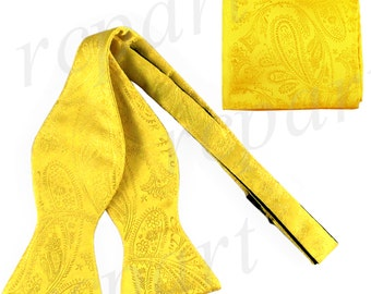 New Men's Paisley Yellow Self-Tie Bowtie and Handkerchief, for Formal Occasions