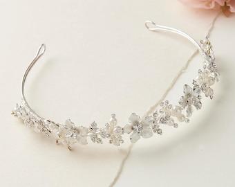 Pearl Bridal Headband, Rhinestone Wedding Headband, Floral Wedding Headpiece, Pearl Headband, Flower Headband, Bridal Hair Accessory ~TI-215