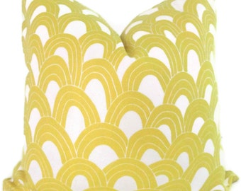 Schumacher Trina Turk Yellow Arches Indoor Outdoor Pillow Cover, Square Lumbar or Eurosham, Schumacher
