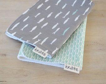 Organic Burp Cloths Set of 2 in Blue Ocean