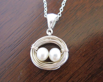 Birds Nest Pearl Necklace-Mother Baby Necklace-Twin Baby Shower Gift-New Mom-Sterling Silver Necklace-Mom of Two
