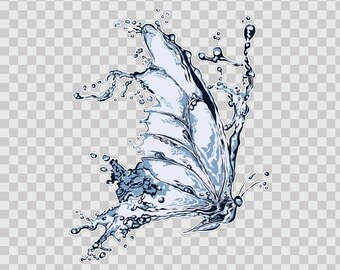 Sticker Decals Water Splash Butterfly fantasy 15833