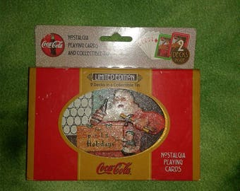 vintage entertainment Limited Edition Coca Cola playing cards in collectible tin