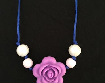 Purple rose flower Chewelry necklace, chew jewelry, pearl, silicone chew beads, sensory jewelry, pearl