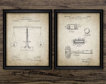 Law Student Patent Print Set Of 2 - Scales Of Justice Legal Judge Lawyer Barrister Solicitor - Set Of Two Prints #916 -INSTANT DOWNLOAD