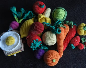 Crochet Food Playset for Kids 25 pieces