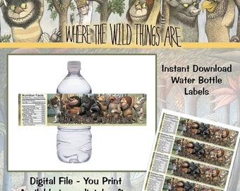 ON SALE Instant Download! Where the Wild Things Are Water Bottle Labels