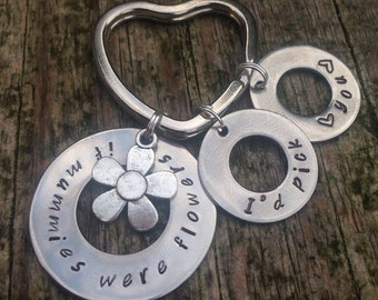 If mums were flowers keyring