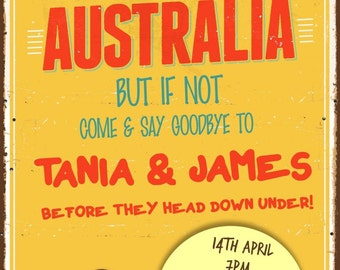 Printed Personalised Leaving Party/ Emigrating to Australia Invitations X10
