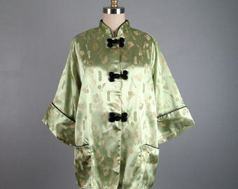 Vintage 1950s Asian Style Lounge Coat 50s Mint Green Fan Print Jacket with Frog Buttons by Tom Girl Size M