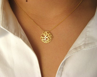 Little Dainty Necklace 14K gold filled with 14K Matt GP abstract bubble pendant  - geometric jewelry