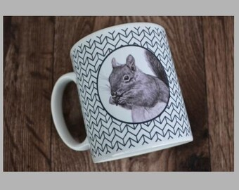 Cyril the Squirrel Geometric Pattern, Black and White, Tea, Coffee, Gift Cup, Mug
