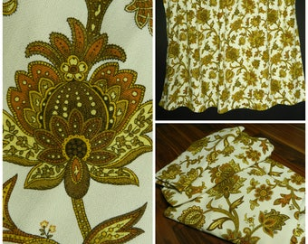 60s 70s pair of vintage heavy gauge COTTON white gold + brown floral curtains retro curtains paisley curtains 55'' x 66''