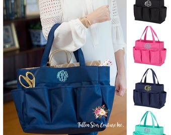Personalized Hobby Tote, Monogrammed Carry All Tote, Knitters, Crocheters, Scrapbookers tote bag , personalized hobby bag