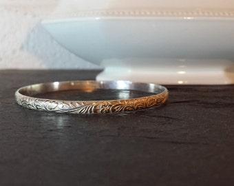 Sterling Silver Floral Vine Bangle Bracelet