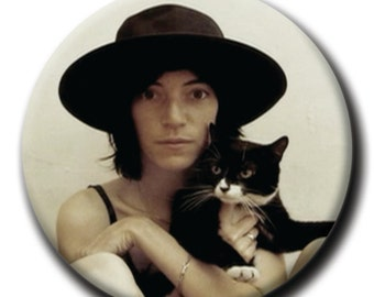 Patti Smith holding a cat 1.75 inch pinback button