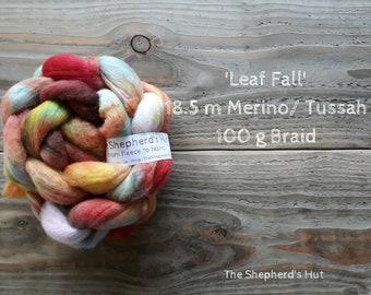 Merino / Tussah Silk hand dyed braid 'Leaf Fall' 100 g  3.5 oz