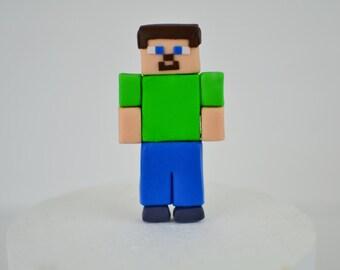 Edible Minecraft Inspired Steve Cake Topper