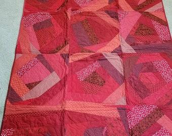 Red lap crazy quilt