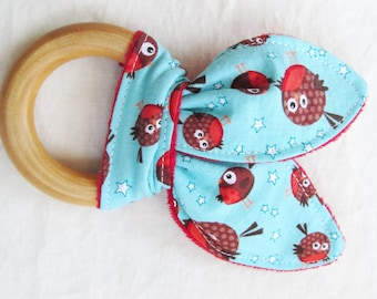Natural Wooden Teether with Crinkles - Red Robins on Aqua - New Baby Gift - Natural Teething