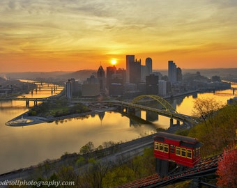 Dawn of a New Day Mount Washington Sunrise, Matted or Metal Photo Print - Pittsburgh Photograph Picture