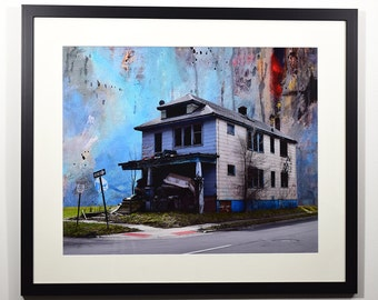 Detroit Photography, Photo Montage, Fine Art Print, Wall Art,  Home Decor, Abandoned House, Decay, Architecture, Vacant Places