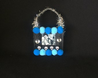 Black  and Blue Frida Kahlo Pom Pom Wooden Popsicle Stick Ornament
