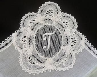 Belgium Linen Initial T Hankie Handkerchief, Hand Made Brussels, White Lace Bridal Wedding Monogram T Hankie, NEW