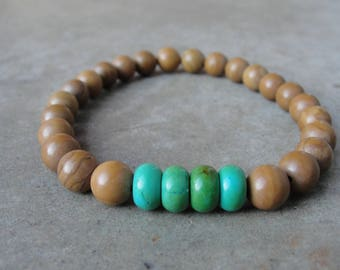 Türkis Bild Jaspis Armband. Perlen Armband. Herrenschmuck. Einfache Minimal. Geschenk für ihn. SydneyAustinDesigns.