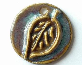 Leaf Pendant, Ceramic Leaf, Leaf Charm, Ceramic Pendant, Ceramic Charm, Brown Leaf Pendant