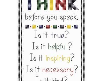 Think Before You Speak (Bright Version) - Original Cross Stitch Chart