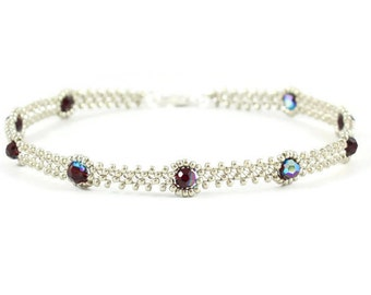 Garnet Crystal Anklet - Chain Ankle Bracelet - Seed Bead Anklet - Foot Jewelry - Silver Anklet - Beadwork Jewelry - Summer Anklet