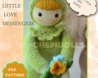 PATTERN Little Love Messenger , decorative crochet doll PATTERN