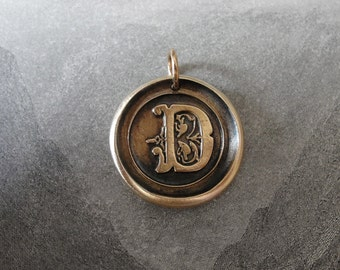 Wax Seal Charm Initial D - wax seal jewelry pendant alphabet charms Letter D by RQP Studio