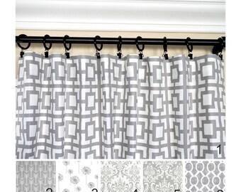 Grey Window Curtains.Gray Drapes.Geometric Curtain.Grey Kitchen Curtains.Gray Damask Curtain.Gray White Curtain.Blackout Option