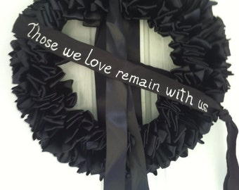 Wreath Mourning Wreath Black Ribbon 18 inch Sympathy In Remembrance In Memorium Love Always