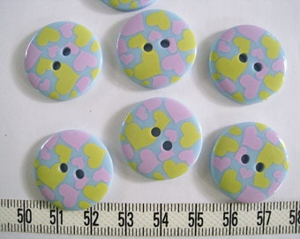 15 pcs of  Graphic Heart Button - 23mm Pastel Yellow and Pink on Blue