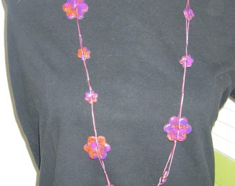 Necklace beads fimo flat flowers purple Burgundy gold