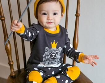 100% Cotton 2pcs 12M-7T Infant Kids Loungewear Pajama Sleepwear Set Bear