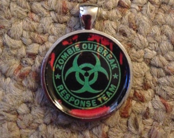 Zombie Outbreak Response Team Image Pendant Necklace-FREE SHIPPING-