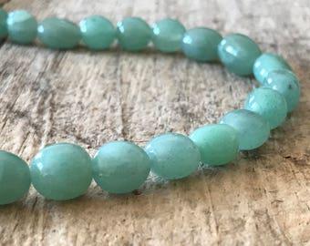 "42pcs 6mm Round Young Jade Beads, 16"" Strand, Semi Precious Gemstone, Destash Jewelry Making Supplies, Jewelry Supply"