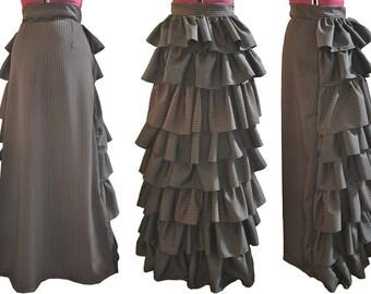 Victorian Elizabeth Black & Pink Pinstripe Skirt Small
